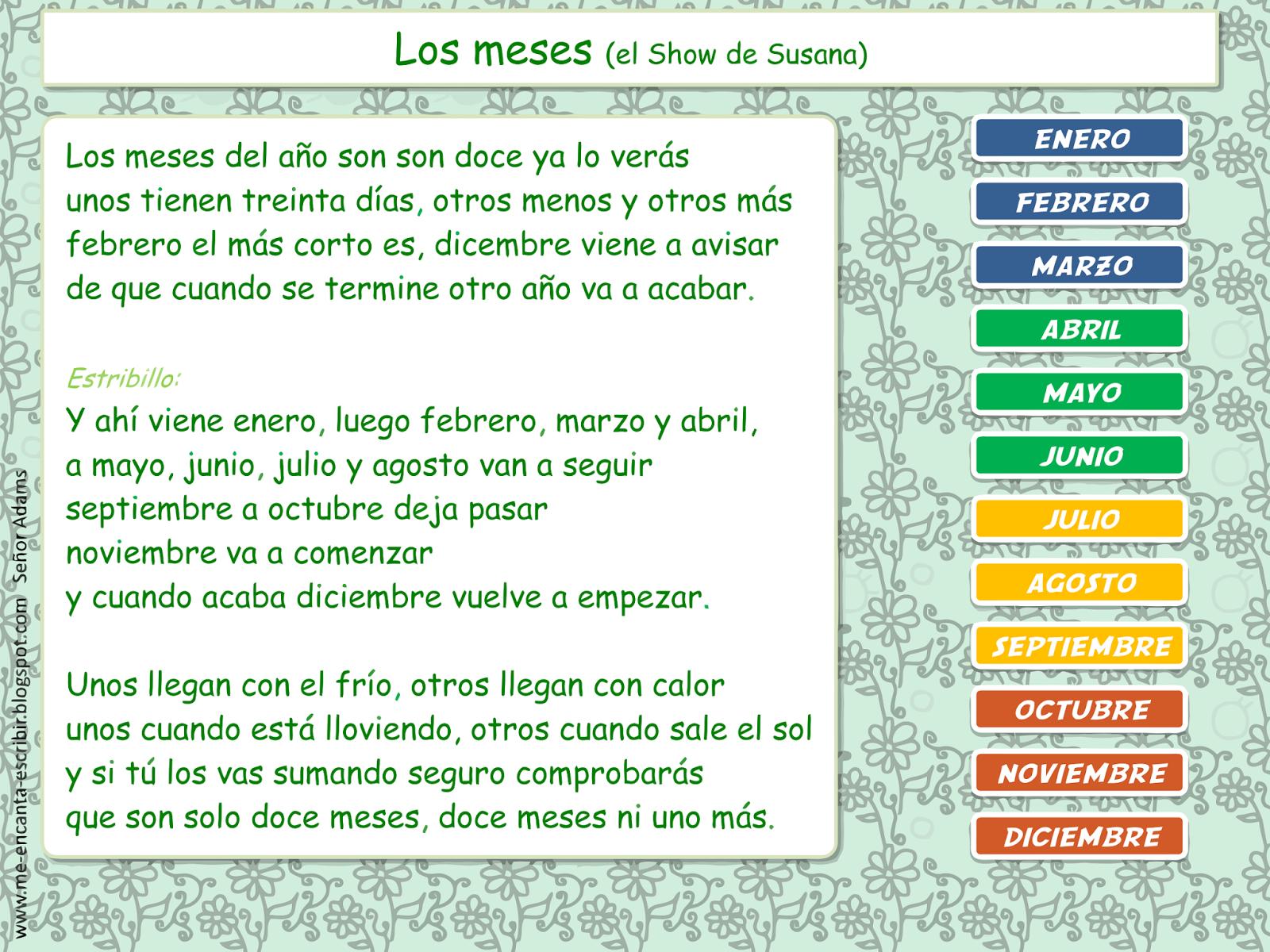 Me Encanta Escribir En Espanol Cancion Los Meses Del Ano El Show