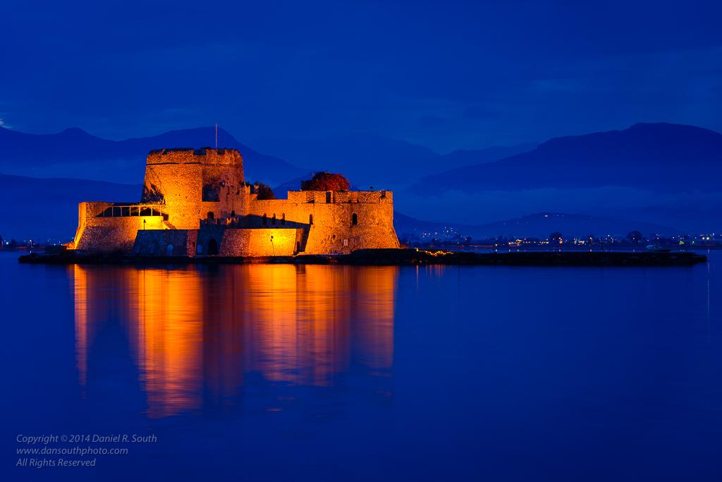 a photo of the bourtzi fortress in nafplio greece