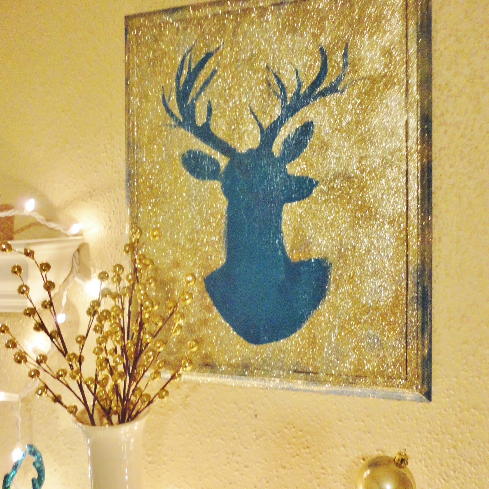 The Lovely Side: DIY Glittery Deer Silhouette Wall Art