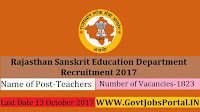Rajasthan Sanskrit Education Department Recruitment – 1823 Teachers