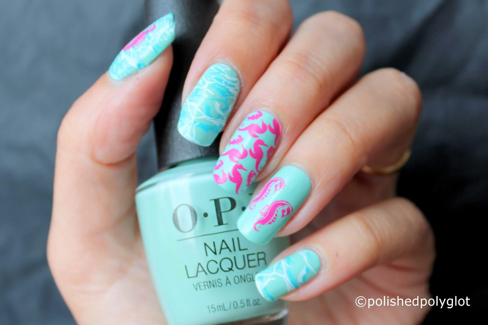 Nail Art │ Summer Manicure with Seahorses [Nail Crazies Unite ...