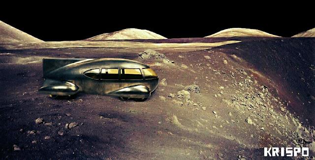 vehículo espacial a ruedas en la luna