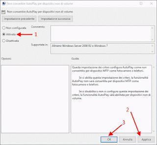 Editor Criteri di gruppo locali - Disattiva AutoPlay MTP Windows 10