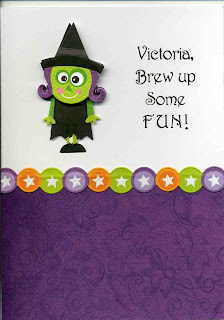 purple halloween card with a witch. Personalized with a name