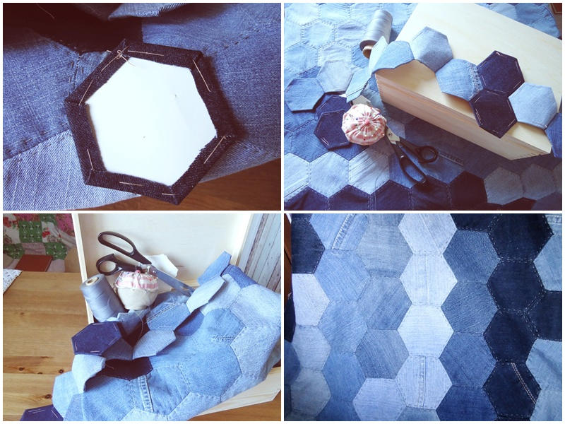 jeansowa narzuta, heksagony, patchwork