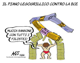 Euro, bce, savona, euroscettico, ministero dell'economia, vignetta, satira