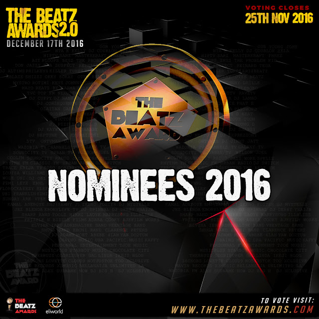 The Beatz Awards 2.0,has released this year's nomination for behind the scenes creative minds who contribute immensely to music production and business in the country.  The award ceremony, has been scheduled to take place on Saturday, December 17th 2016,  at Shell hall Muson Centre, Onikan, Lagos and voting is already on and to end on Friday, November 25th, 2016.  Here's the full list of Nominees: