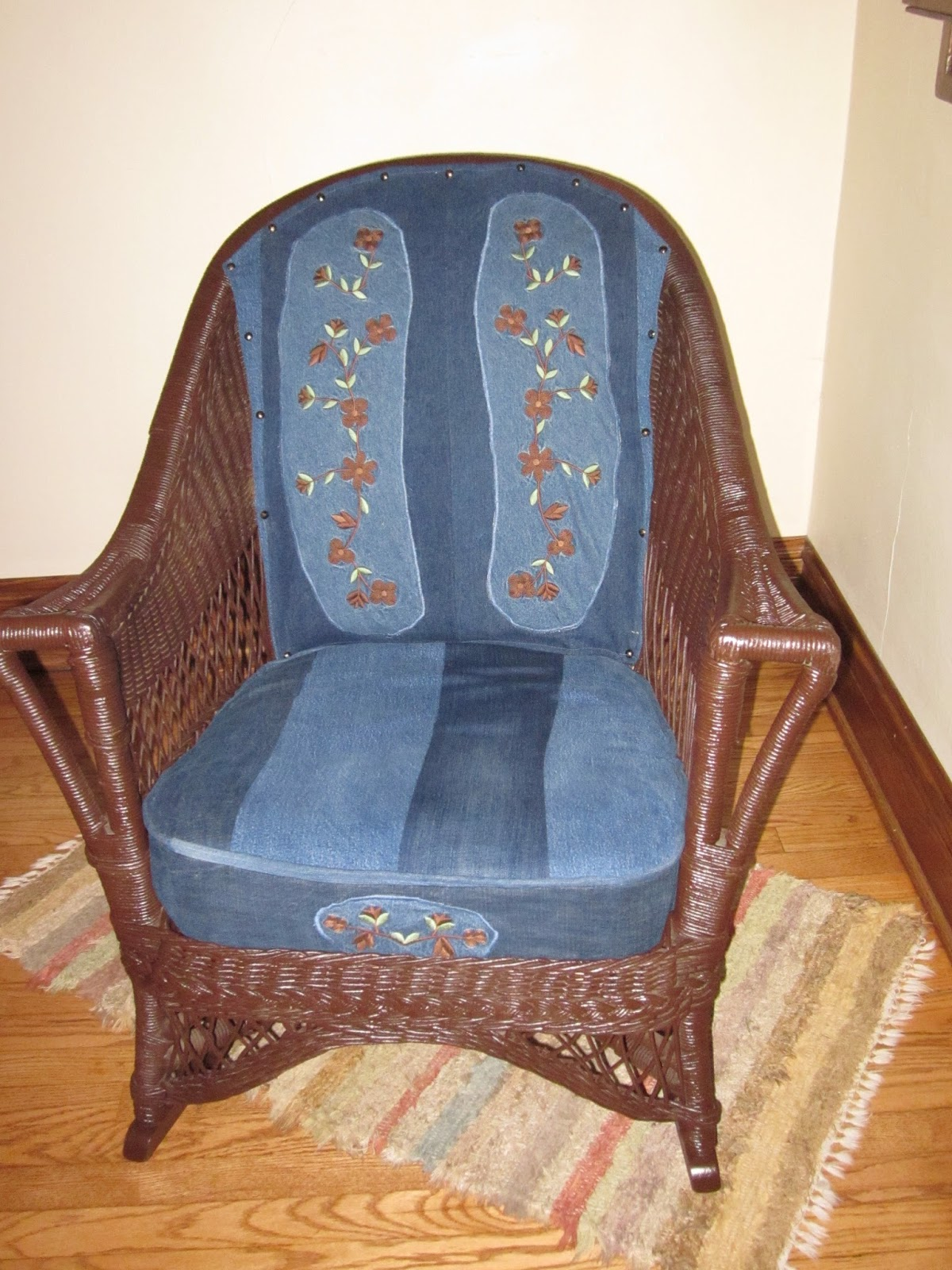 Denim Chairs Blue Janes Bags Reupholstered Chair Using Recycled Denim