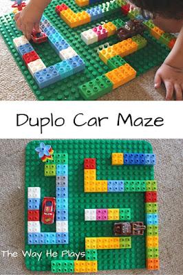 Duplo car maze pinterest image