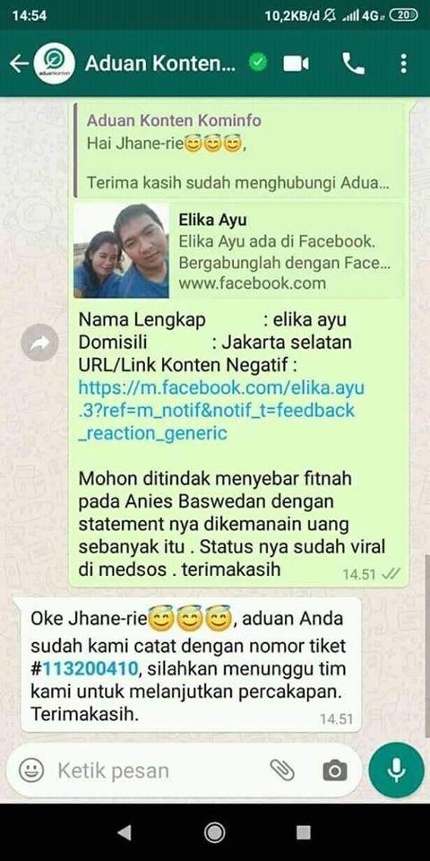 Fitnah Anies Baswedan Soal Bantuan Pemprov DKI, Akun Elika
