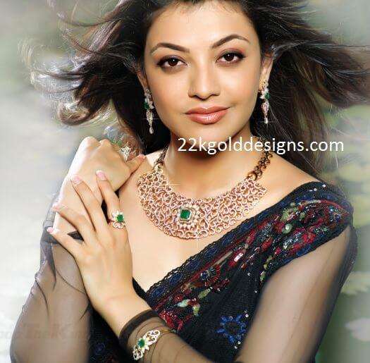 Kajal In Emerald Diamond Necklace 22kgolddesigns