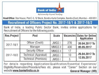 Bank Of India 702 Specialist Officer Recruitment 2017