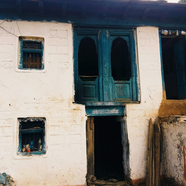 Architecture of local houses with two floor, Pithoragarh City, Uttarakhand