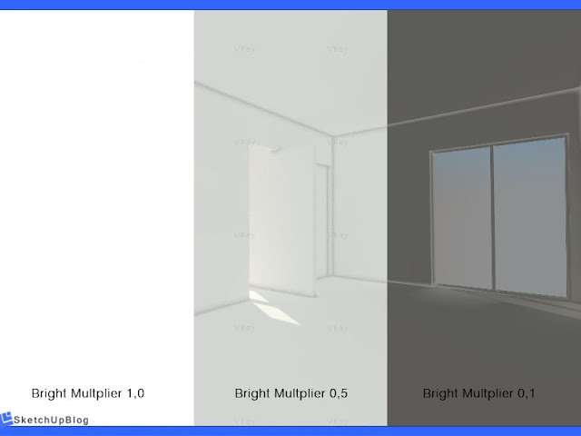 Cara setting Color Mapping vray sketchup 2.0 - Bright Multiplier