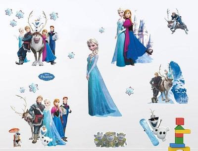 Mẫu decal hoạt hình dán tường công chúa băng giá - elsa