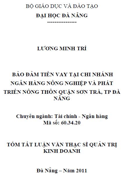 Bảo đảm tiền vay tại chi nhánh Ngân hàng Nông nghiệp và Phát triển Nông thôn Quận Sơn Trà thành phố Đà Nẵng