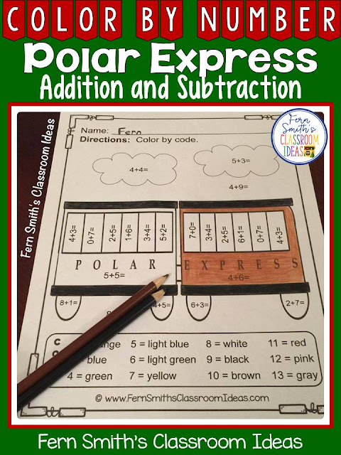 Fern Smith's Classroom Ideas Color By Numbers Polar Express Christmas Math Addition and Subtraction