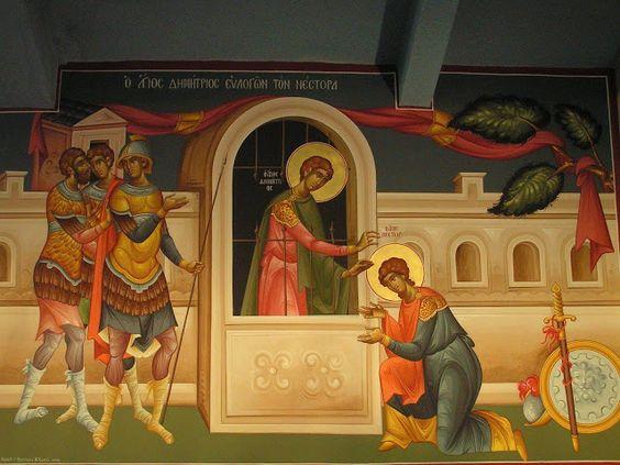 Saint Demetrius, blessing Saint Nestor