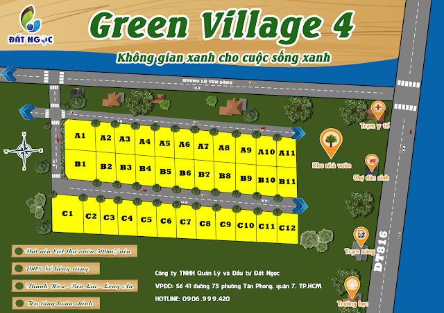 Mặt bằng dự án Green Village Bến Lức Long An