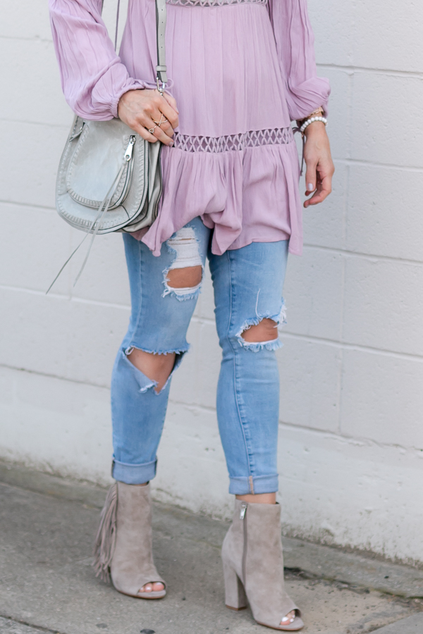 grey fringe peep toe booties