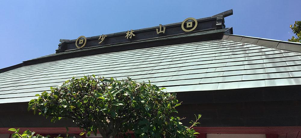 心宝寺山門屋根は近年に銅板に葺替えられたものと思われる、大棟の左から読ませる山号両側に青山家紋「無地銭」があしらわれる(2016年6月26日)