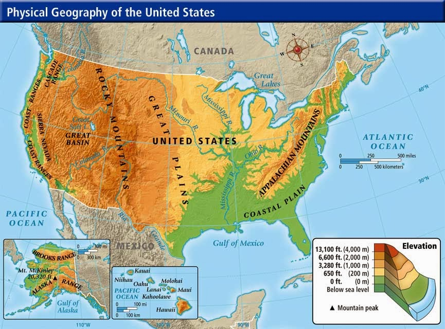 geography blog physical map of the united states of america