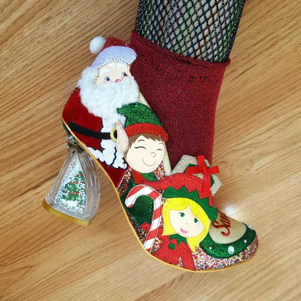 christmas shoe with lights and Santa and elf applique