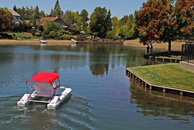 autumn  ride on a funcat electric boat
