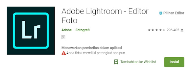 Aplikasi Lightroom (LR)