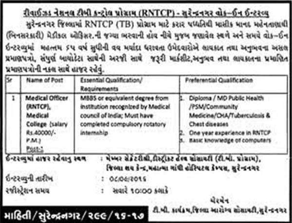 Revised National TB Control Programme Surendranagar Recruitment 2016 for Medical Officer Post