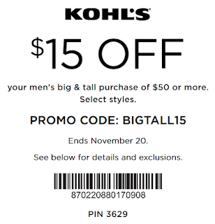 Kohl's coupon $15 off $50 Men's big & tall apparel nov 2016