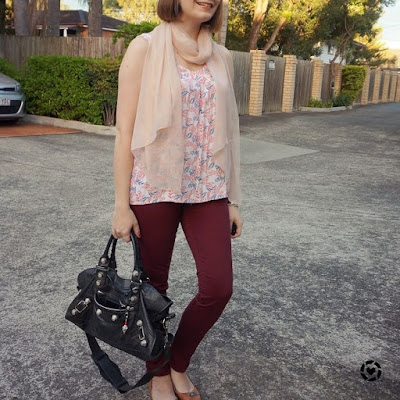 awayfromtheblue instagram | printed tank colourful pants business casual outfit burgundy and pastels