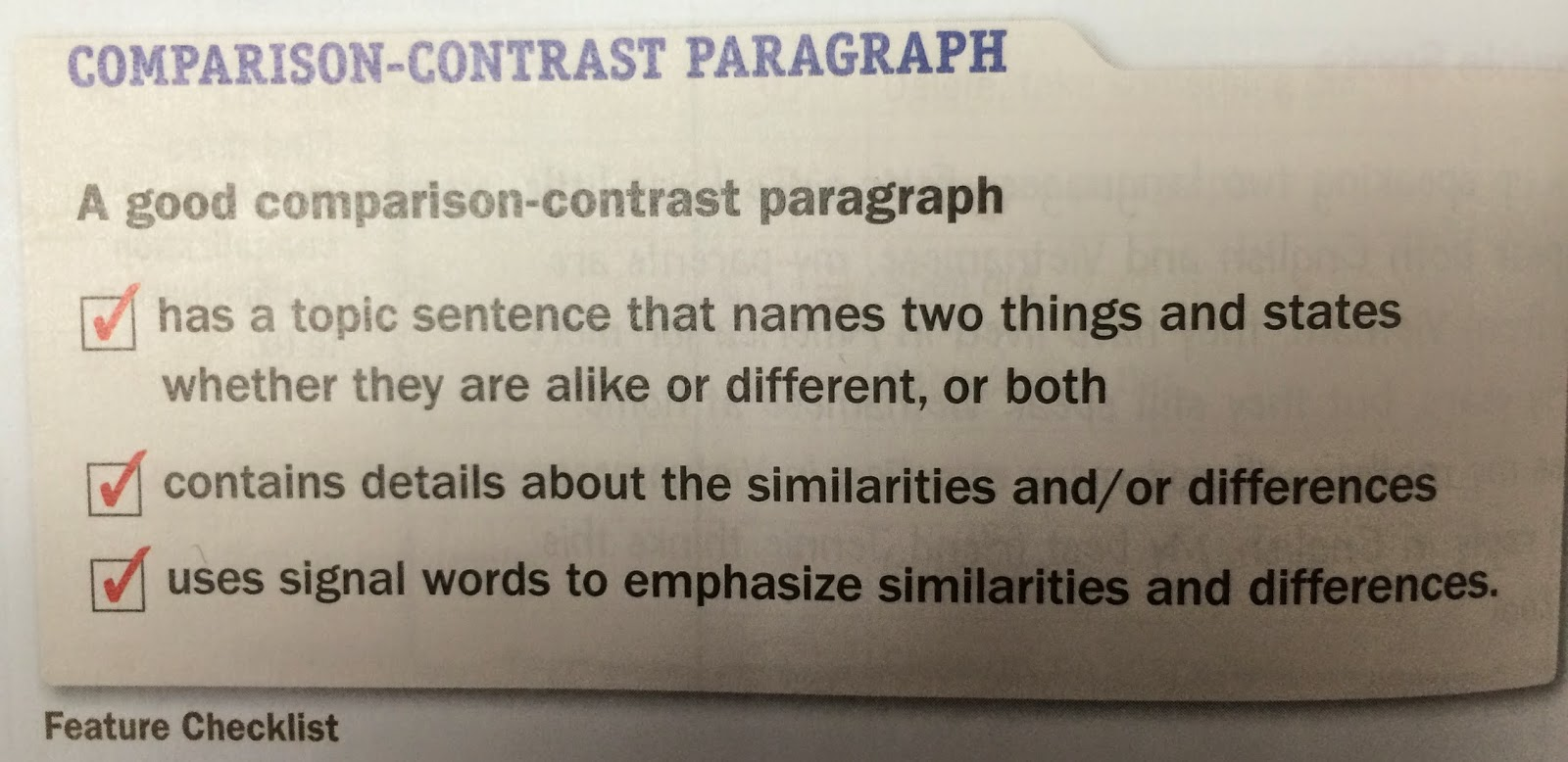 Compare And Contrast Essay Checklist After