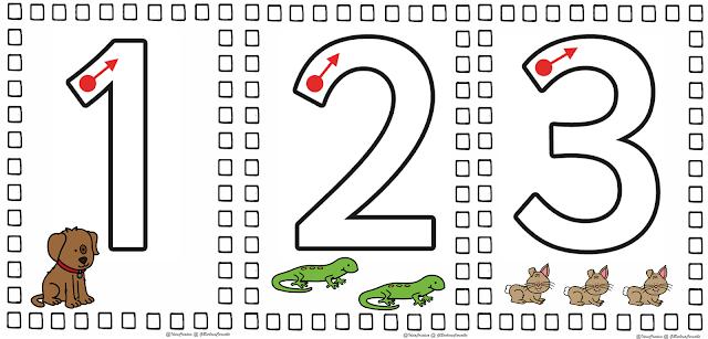 Cartazes para montar fichas permanentes Numerais 0 a 9