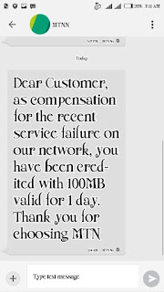 Free 100MB compensation data from MTN - prexblog.com