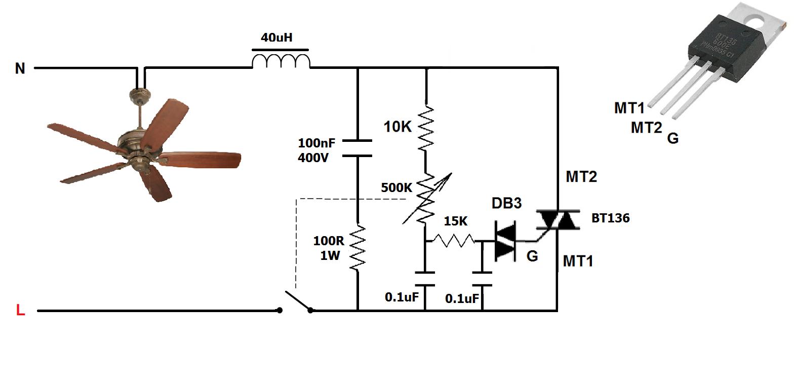 دوائر ديمر Dimmer لتحكم بسرعة المروحة و شدة الإضاءة