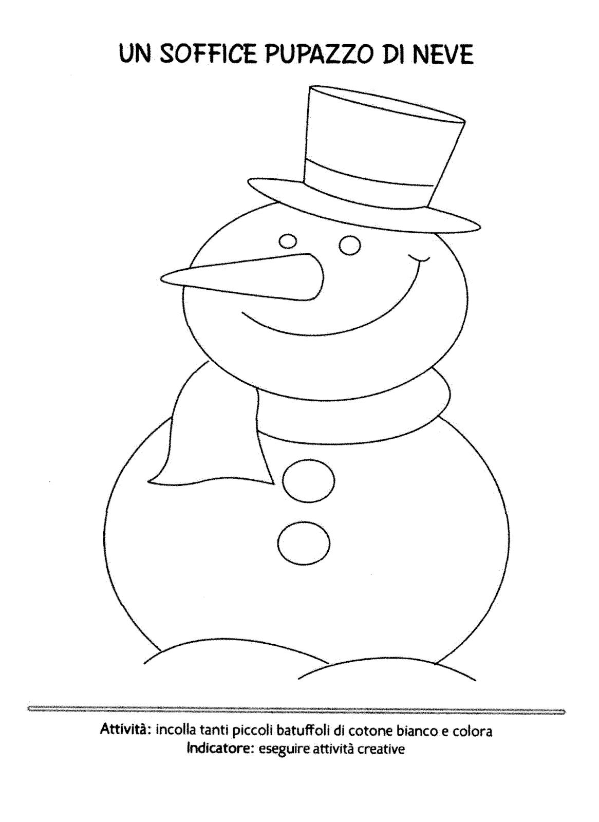 La maestra linda inverno il pupazzo di neve for Schede didattiche scuola infanzia 3 anni
