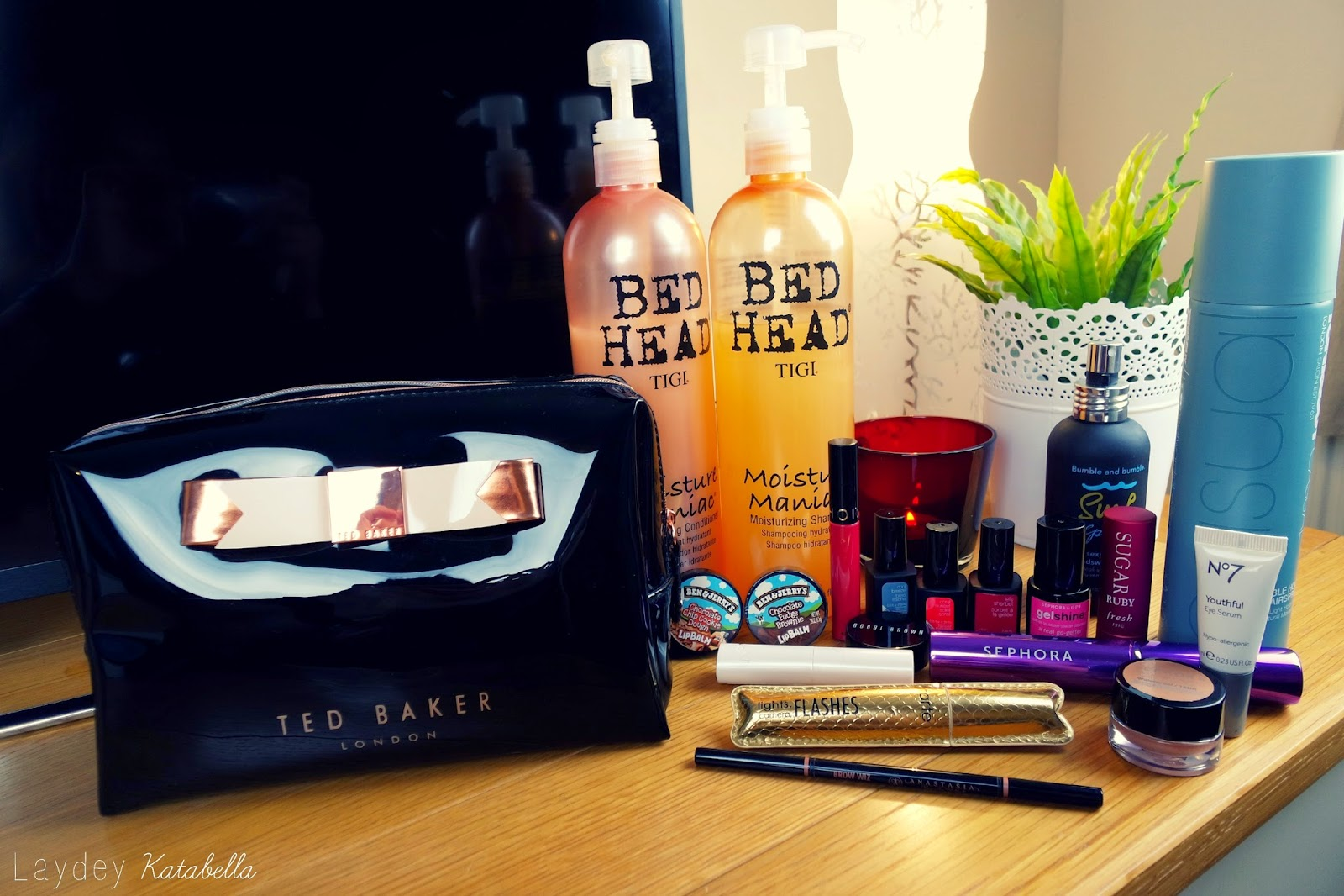 photo of ted baker make-up bag, bed head shampoo nd conditionner, anastacia brow wizz, tarte lights camera flashes, ben and jerrys lip balm, sephora, no7, toni and guy, bumble and buumble