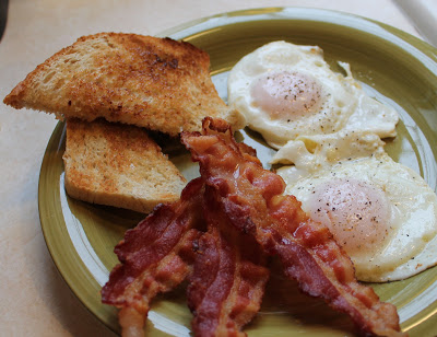 Fried Eggs, Crisp Bacon, Buttered Toast