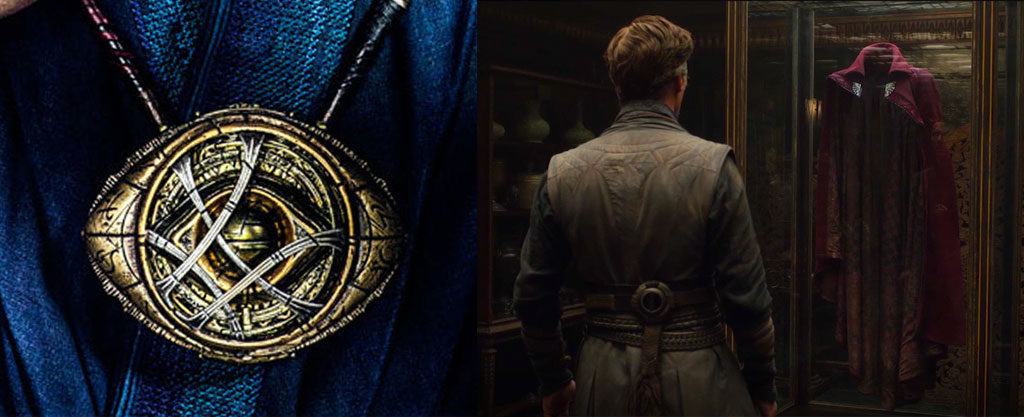 Doctor Strange Eye of Agamotto (left) and the Cloak of Levitation (right)