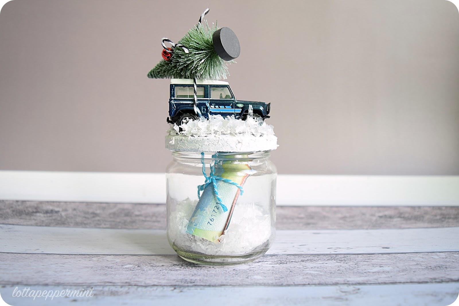 lottapeppermint winter jeep auf glas ein geldgeschenk diy. Black Bedroom Furniture Sets. Home Design Ideas