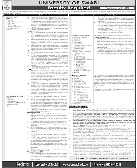 University of Swabi Jobs 2019 for Professors & Lecturer Latest Advertisement march 2019