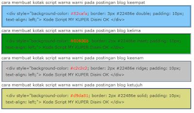 Cara membuat kotak script warna-warni pada postingan