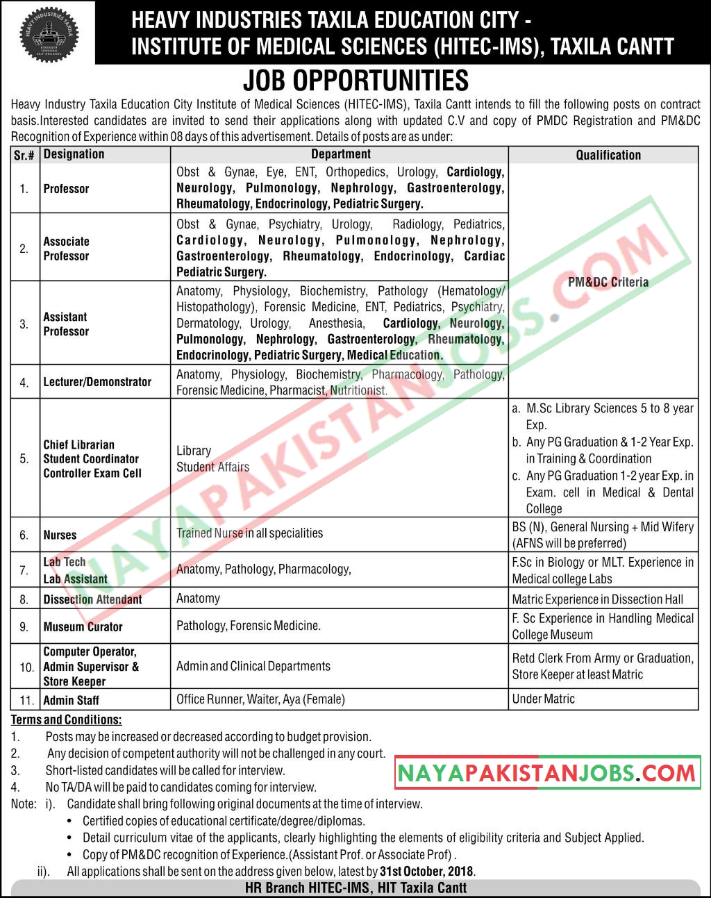 Latest Vacancies Announced in Heavy Industries Taxila Education City 24 October 2018 - Naya Pakistan
