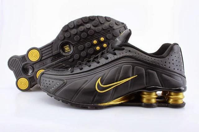 821bc39a4ab7 Discount Mens Nike Shox R4 Black Gold Column Shoes Clearance For Sale