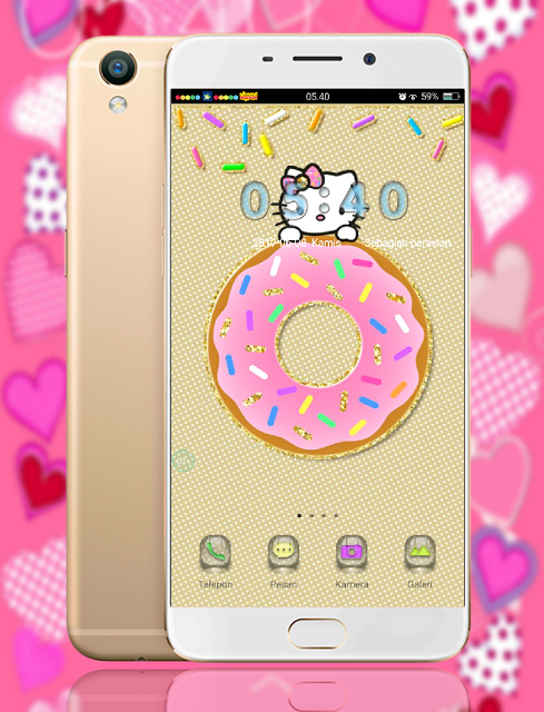 Download Tema Oppo A39 Terbaru dan Terkeren - Donat Hello Kitty
