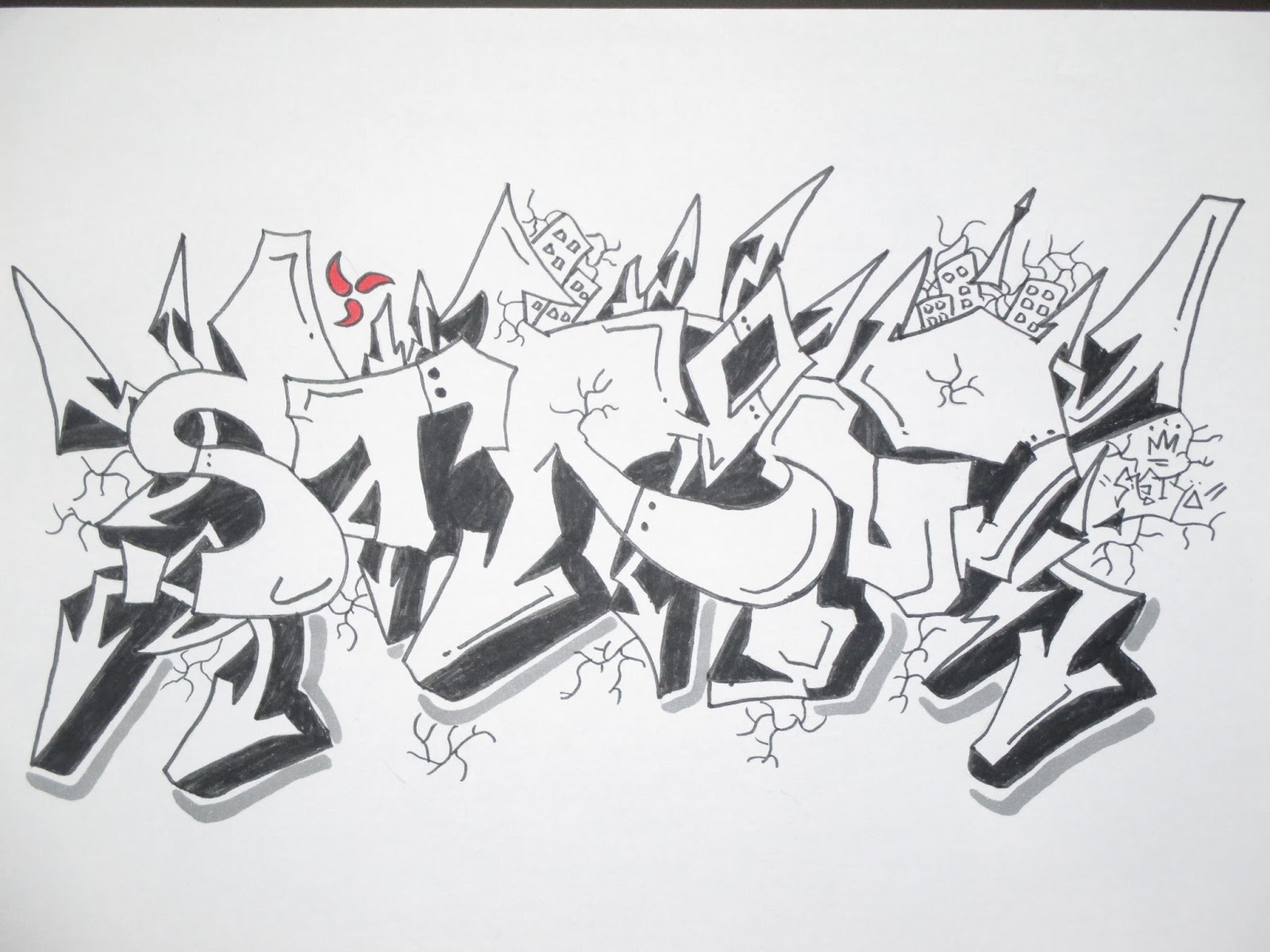 Grafiti Arsiran Pensil Black And White