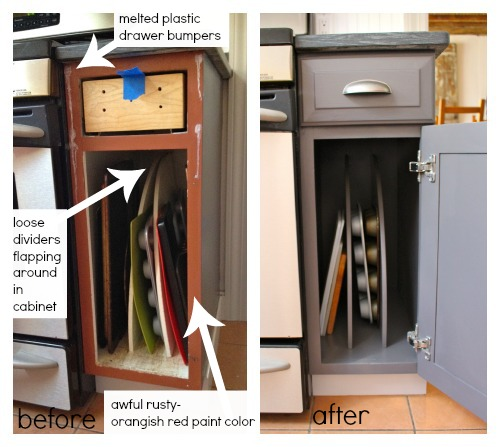 pan cabinet storage dividers before and after