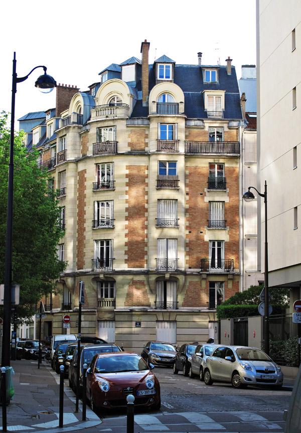 Apartment block in reflected light, Dupleix, Paris. Photos by Kent Johnson for Street Fashion Sydney.