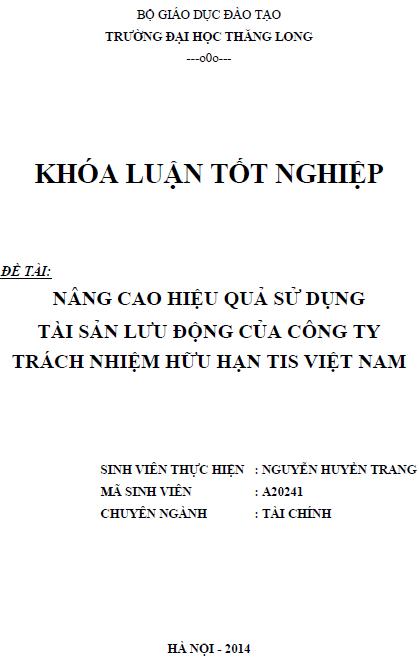 Nâng cao hiệu quả sử dụng tài sản lưu động của Công ty TNHH TIS Việt Nam